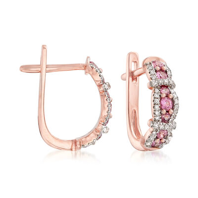 .39 ct. t.w. Pink Sapphire and .21 ct. t.w. Diamond Earrings in 14kt Rose Gold, , default