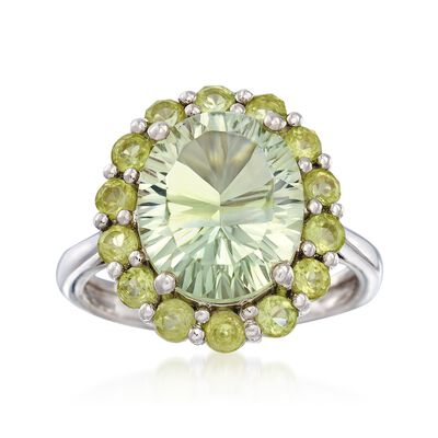 4.50 Carat Green Prasiolite and 1.10 ct. t.w. Peridot Ring in Sterling Silver, , default