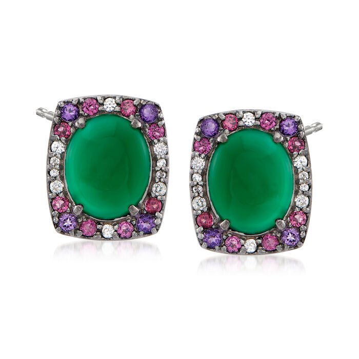 Green Chalcedony and .56 ct. t.w. Multi-Gem Earrings in Sterling Silver, , default