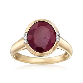 5.00 Carat Ruby Ring With Diamond Accents in 14kt Yellow Gold, , default