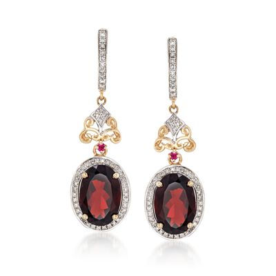 8.00 ct. t.w. Garnet and .41 ct. t.w. Diamond Earrings with Ruby Accents in 14kt Yellow Gold, , default