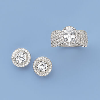 2.35 ct. t.w. CZ Halo Stud Earrings in Sterling Silver