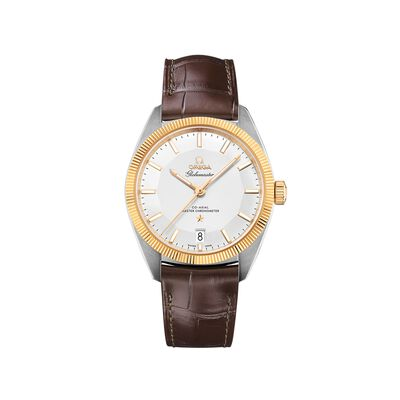 Omega Constellation Men's 39mm Stainless Steel and 18kt Gold Watch with Brown Leather Strap