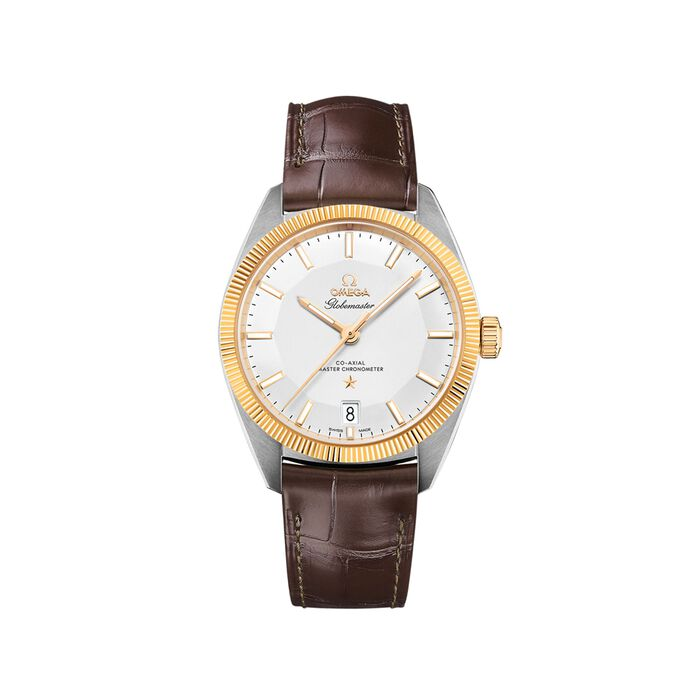 Omega Constellation Men's 39mm Stainless Steel and 18kt Gold Watch with Brown Leather Strap , , default