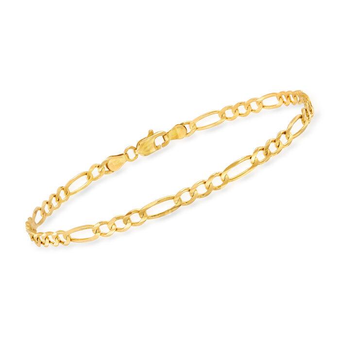 """Men's 3.8mm 14kt Yellow Gold Figaro Chain Bracelet. 8"""""""