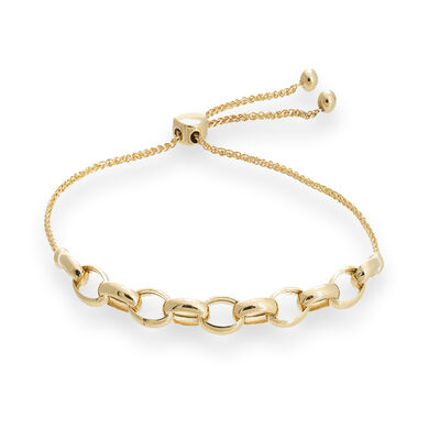 14kt Yellow Gold Rolo Link Bolo Bracelet