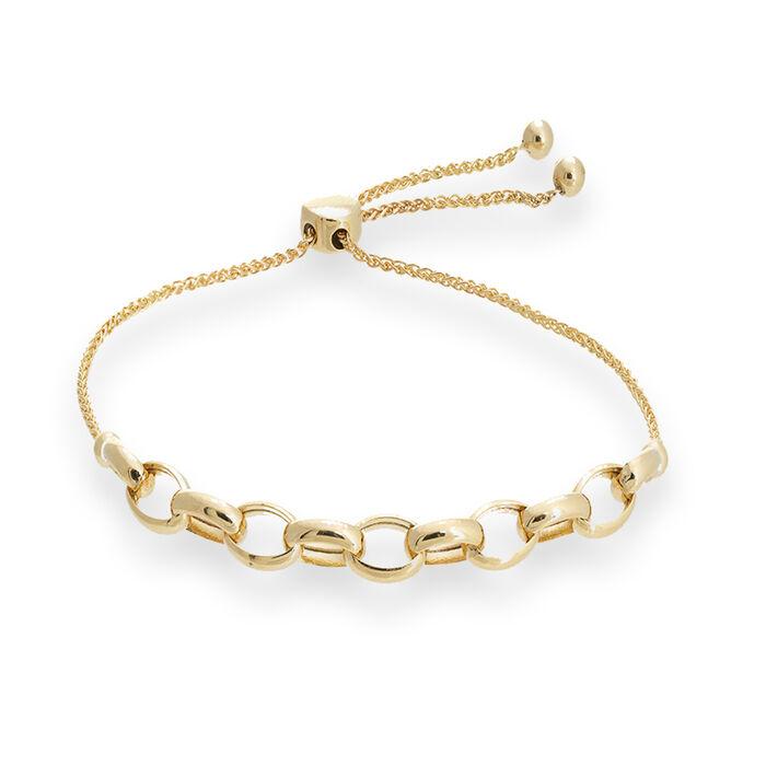 14kt Yellow Gold Rolo Link Bolo Bracelet