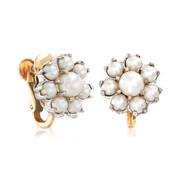 C. 1950 Vintage 3.5-5.5mm Cultured Pearl Cluster Earrings in 10kt Two-Tone Gold