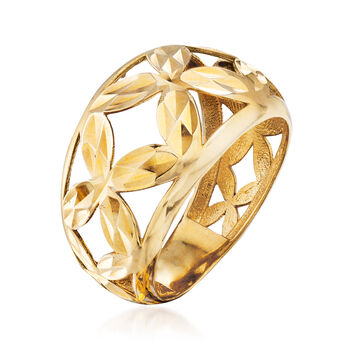 14kt Yellow Gold Floral Openwork Dome Ring, , default