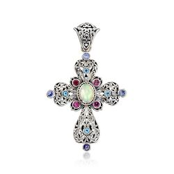 Multi-Stone Openwork Cross Pendant in Sterling Silver, , default