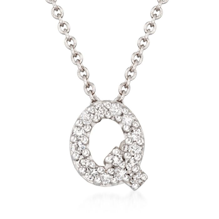 "Roberto Coin ""Love Letter"" Diamond Accent Initial ""Q"" Necklace in 18kt White Gold"