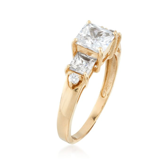 2.00 ct. t.w. Princess-Cut and Round CZ Ring in 14kt Yellow Gold