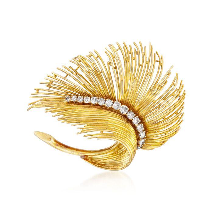 C. 1970 Vintage Tiffany Jewelry .75 ct. t.w. Diamond Leaf Pin in 18kt Yellow Gold