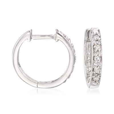 Diamond Accent Huggie Hoop Earrings in 14kt White Gold, , default