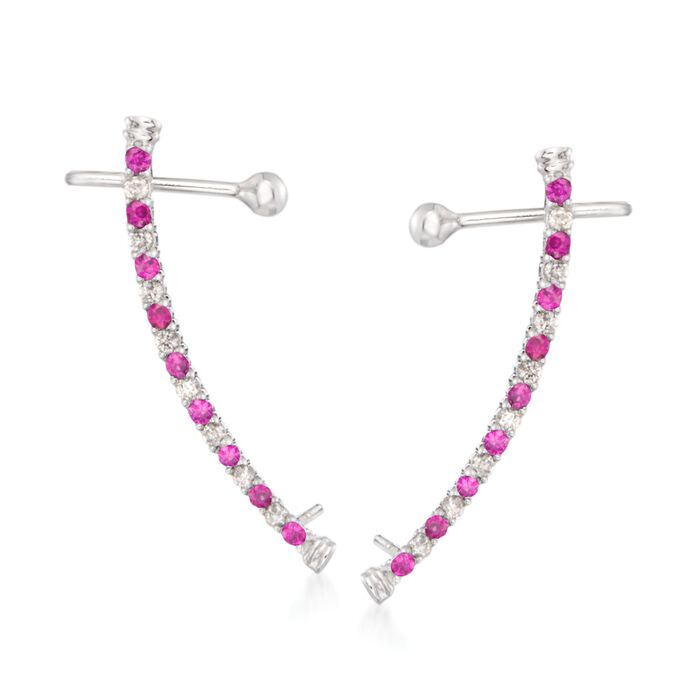 .20 ct. t.w. Ruby and .16 ct. t.w. Diamond Linear Ear Crawlers in 14kt White Gold, , default