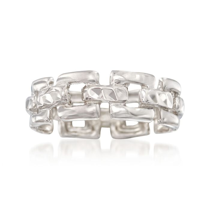Italian Sterling Silver Chain-Link Ring, , default