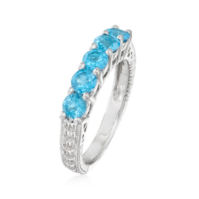 1.50 ct. t.w. Swiss Blue Topaz Five-Stone Ring in Sterling Silver