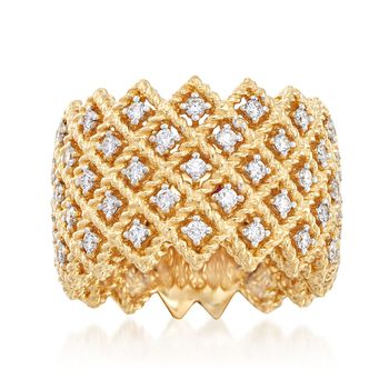 "Roberto Coin ""Barocco"" 1.10 ct. t.w. Diamond Five-Row Ring in 18kt Yellow Gold. Size 7, , default"
