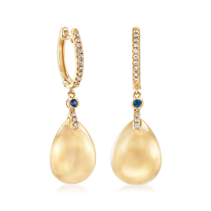 .20 ct. t.w. Diamond Teardrop Earrings with Sapphire Accents in 14kt Yellow Gold