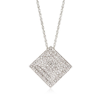.15 ct. t.w. Diamond Square Pendant Necklace in Sterling Silver, , default