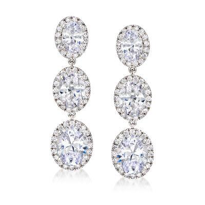 8.90 ct. t.w. CZ Drop Earrings in Sterling Silver