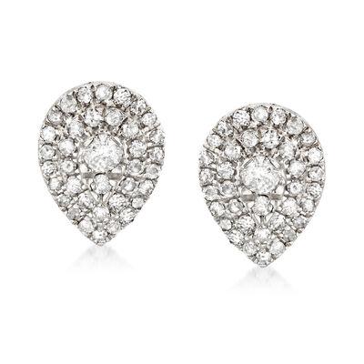 .50 ct. t.w. Diamond Cluster Pear-Shaped Earrings in Sterling Silver