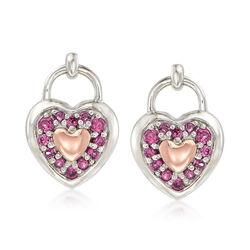 .40 ct. t.w. Rhodolite Garnet Heart Earrings in Sterling Silver and 14kt Rose Gold , , default