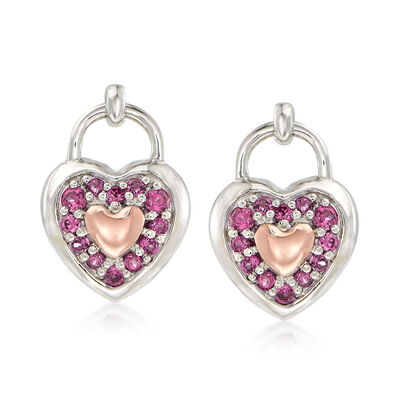 .40 ct. t.w. Rhodolite Garnet Heart Earrings in Sterling Silver and 14kt Rose Gold , , default