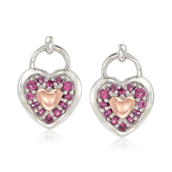 .40 ct. t.w. Rhodolite Garnet Heart Earrings in Sterling Silver and 14kt Rose Gold, , default