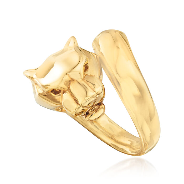 Italian 18kt Yellow Gold Panther Bypass Ring, , default