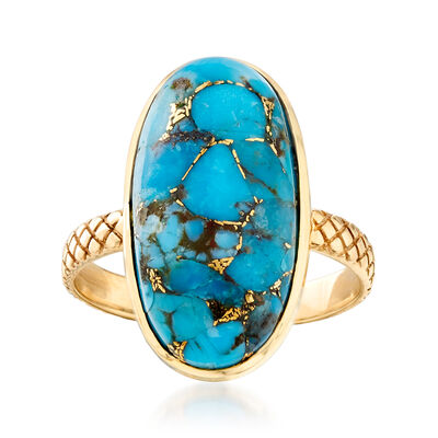 20x10mm Stabilized Turquoise Ring in 14kt Yellow Gold, , default