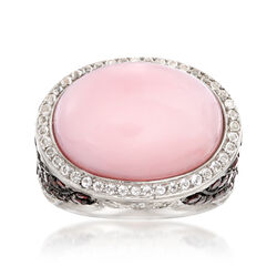 Pink Opal, 2.90 ct. Tw.  Garnet and .40 ct.Tw. White Topaz Ring in Sterling Silver, , default