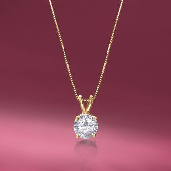 """1.00 Carat Diamond Solitaire Necklace in 14kt Yellow Gold. 18"""""""