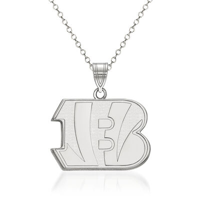 "Sterling Silver NFL Cincinnati Bengals Pendant Necklace. 18"""