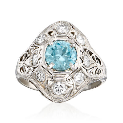 C. 1950 Vintage 1.75 Carat Blue Zircon and .65 ct. t.w. Diamond Filigree Ring in 14kt White Gold, , default