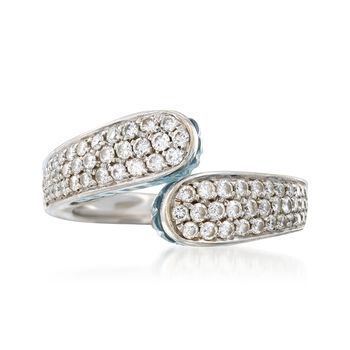 C. 1990 Vintage 4.50 ct. t.w. Blue Topaz and .90 ct. t.w. Diamond Ring in 18kt White Gold. Size 7, , default