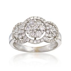 C. 1990 Vintage 1.00 ct. t.w. Diamond Halo Cluster Ring in 18kt White Gold, , default