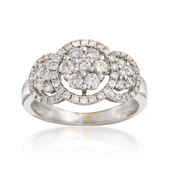 C. 1990 Vintage 1.00 ct. t.w. Diamond Halo Cluster Ring in 18kt White Gold. Size 5.75, , default