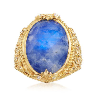 Lapis and Moonstone Doublet with .80 ct. t.w. White Zircon Ring in 18kt Gold Over Sterling, , default