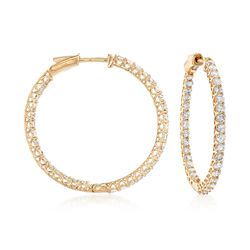 "2.75 ct. t.w. Diamond Inside-Outside Hoop Earrings in 14kt Yellow Gold. 1 1/4"", , default"