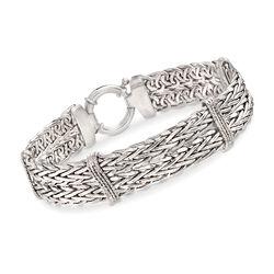 Sterling Silver Wheat-Link and Wavy Bar Bracelet, , default