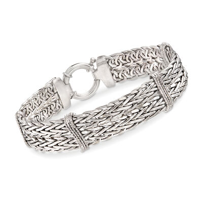Sterling Silver Wheat-Link and Wavy Bar Bracelet, , default