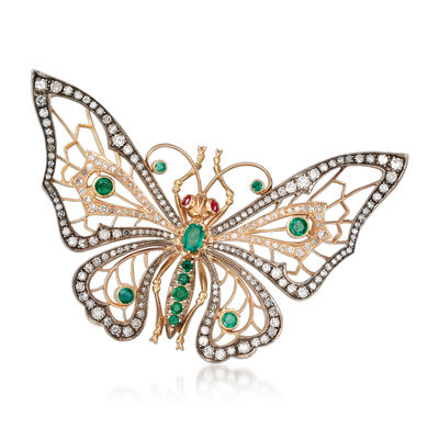 C. 1950 Vintage 2.80 ct. t.w. Diamond and 1.05 ct. t.w. Emerald Butterfly Pin in 10kt Yellow Gold, , default