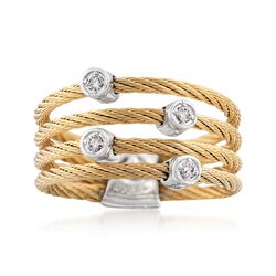 "ALOR ""Classique"" Yellow Stainless Steel Cable Ring With Diamond Stations and 18kt White Gold. Size 7, , default"