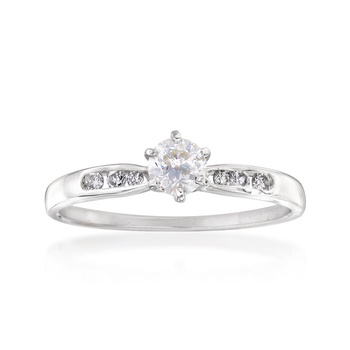 C. 1970 Vintage .37 ct. t.w. Diamond Engagement Ring in 14kt White Gold. Size 7.5, , default