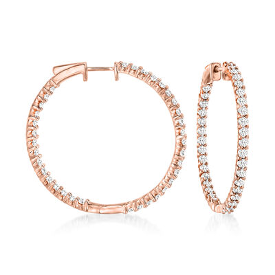 3.00 ct. t.w. Diamond Inside-Outside Hoop Earrings in 18kt Rose Gold Over Sterling