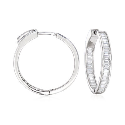 1.80 ct. t.w. Baguette CZ Inside-Outside Hoop Earrings in Sterling Silver