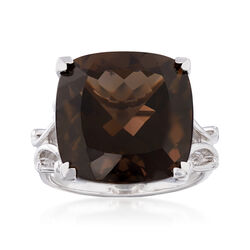 Italian 12.00 Carat Smoky Quartz Ring in Sterling Silver, , default