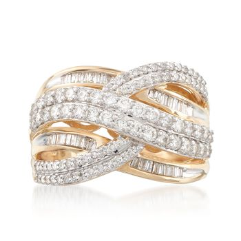 .99 ct. t.w. Diamond Multi-Row Ring in 14kt Yellow Gold, , default