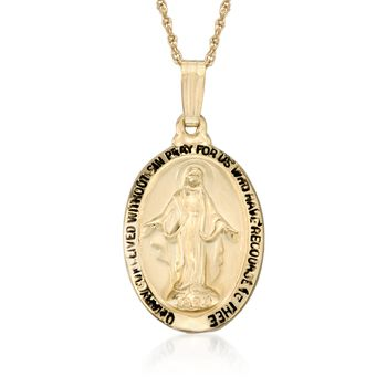 "14kt Yellow Gold Mary Miraculous Medal Necklace. 18"", , default"